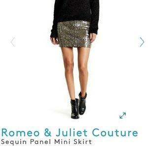 NWT Romeo & Juliet sequined Panel mini skirt Med